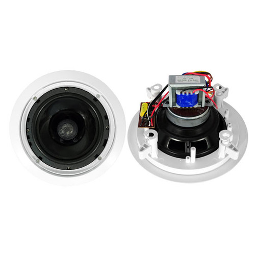 Pair Pyle PDIC60T 6.5'' Two-Way In-Ceiling Speakers w/70V Transformer