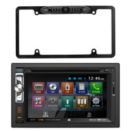 """Dual AV Double Din 6.2"""" Touch Screen DVD Bluetooth USB Receiver, Enrock Car License Plate Frame Rear View Backup Night Vision Waterproof Camera with Parking Assist and Distance Scale Lines"""
