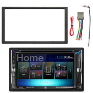 Dual Double-DIN Multimedia DVD Receiver with Bluetooth and 2-Way DualMirror Technology, Enrock Double DIN Installation Dash Kit, Enrock Stereo Wiring Harness, Enrock Antenna Adapter