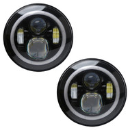 "2x Enrock HALO LED CREE IP67 Waterproof Diecast Aluminum  7"" Harley Davidson, Jeep High Low Beam Lamps (Black) High: 47Watt 3600 Lumen - Low: 27Watt 3100 Lumen 6500-700K"