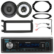 """Kenwood In-Dash 1DIN AUX USB MP3 AM/FM CD Bluetooth Stereo, 2x 6.5"""" Speakers, 1DIN Dash Kit, Metra 2 Pin Rectangular Speaker Connector, Antenna Adapter, 4X6"""" Speaker Plate (Select 2001-2006 Vehicles)"""