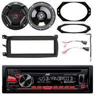 "JVC Single DIN In-Dash CD/AM/FM/USB/AUX Car Stereo Receiver, Enrock Single-DIN Dash Kit, Metra 2 Pin Rectangular Speaker Connector, Metra Antenna Adapter Cable, 2x JVC 300-Watt Peak 6.5"" 2-Way Coaxial Speakers, Metra 4 X 6"" Speaker Plate"