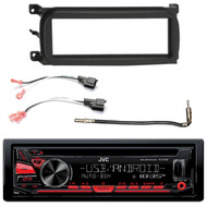 JVC KD-R690S Single DIN In-Dash CD/AM/FM/ Car Stereo Receiver w/ Detachable Faceplate, Enrock Single-DIN Dash Kit, Metra 2 Pin Rectangular Speaker Connector, Metra Antenna Adapter Cable
