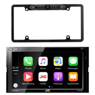 JVC 2-DIN Digital Multimedia Blueooth Receiver w/ Built in Amp, Enrock Car License Plate Frame Rear View Backup Night Vision Waterproof Camera with Parking Assist and Distance Scale Lines