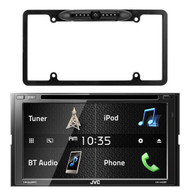 """JVC KW-V430BT 6.8"""" Double DIN Bluetooth In-Dash DVD/CD/AM/FM In-Dash Car Stereo SiriusXM Radio Ready, Enrock Car License Plate Frame Rear View Backup Night Vision Waterproof Camera with Parking Assist and Distance Scale Lines"""
