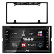 """JVC KW-V620BT 6.8"""" Display Double DIN Bluetooth In-Dash Car Stereo Receivers, Enrock Car License Plate Frame Rear View Backup Night Vision Waterproof Camera with Parking Assist and Distance Scale Lines"""