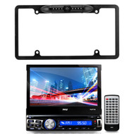 """Pyle 7"""" Bluetooth and GPS Navigation Touchscreen CD USB AUX AM/FM Headunit Receiver, Enrock Car License Plate Frame Rear View Backup Night Vision Waterproof Camera with Parking Assist and Distance Scale Lines"""