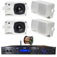 Pyle Home Theater Amplifier Audio Bluetooth MP3/USB/SD/AUX/FM Receiver System, with 4x Pyle 3.5'' 200 Watt 3-Way Weather Proof Mini Box Speakers (White), Enrock Audio 16-Gauge 50 Foot Speaker Wire