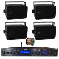 Pyle Home Theater Amplifier Audio Bluetooth MP3/USB/SD/AUX/FM Receiver System, with 4x Pyle 3.5'' 200 Watt 3-Way Weather Proof Mini Box Speakers (Black), Enrock Audio 16-Gauge 50 Foot Speaker Wire