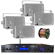 Pyle Home Theater Amplifier Audio Bluetooth MP3/USB/SD/AUX/FM Receiver System, with 4x Pyle 3.5'' 200 Watt 3-Way Weather Proof Mini Box Speakers (Silver), Enrock Audio 16-Gauge 50 Foot Speaker Wire
