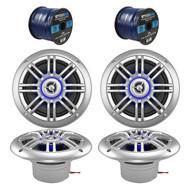 "4 x Milennia 6.5"" Marine Speakers, 2 x Enrock Audio Marine Grade Speaker Wire (R-2PAIR-652BSL-EM16G50FT-OFC)"