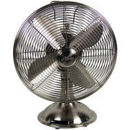 """HUNTER 90400 12"""" Retro Personal Table Fan with Brushed Nickel Finish (R-HHC90400)"""