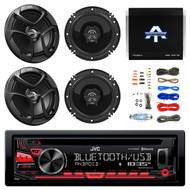 """JVC 1-DIN CD Receiver w/JVC 6.5"""" 2-Way Speakers, Amplifier & 18G 50' SPKR Wire (R-KDR780BT-CSJ620-TA10504-EAKIT8G)"""