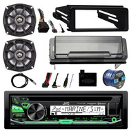 """Stereo, 2X 5.25"""" Speakers, Cover, Handlebar Control, Dash Kit, Antenna,50ft Wire (R-KDR97MBS-10PS52504)"""