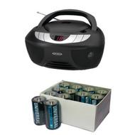Jensen Cd-475 Portable Stereo Cd Player With Am/fm Radio & Kinetik C 24 Pk (R-KITUBCBATT47)