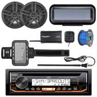 "JVC KD-R99MBS Marine Bluetooth CD Receiver, Radio Cover, 2x Enrock Marine 2-Way 6.5"" Speakers (Black), SiriusXM Tuner, Iphone Waterproof Arm Band, Marine Radio Antenna - Black, Tinned Speaker Wire"