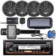 "JVC KD-R99MBS Marine Bluetooth CD Receiver, Radio Cover, 4x Enrock Marine 2-Way 6.5"" Speakers (Black), SiriusXM Tuner, Iphone Waterproof Arm Band, Marine Radio Antenna - Black, Tinned Speaker Wire"
