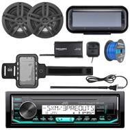 "JVC KD-X35MBS Marine AM/FM Bluetooth SiriusXM Receiver, Radio Cover , 2x Enrock Marine 2-Way 6.5"" Speakers (Black), Radio Antenna, SiriusXM Tuner, Iphone Waterproof Arm Band, Tinned Speaker Wire"