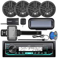 "JVC KD-X35MBS Marine AM/FM Bluetooth SiriusXM Receiver, Radio Cover , 4x Enrock Marine 2-Way 6.5"" Speakers (Black), Radio Antenna, SiriusXM Tuner, Iphone Waterproof Arm Band, Tinned Speaker Wire"