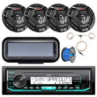 "Bay Boat Audio Package: JVC KD-X35MBS Marine Single DIN AM/FM Bluetooth SiriusXM Receiver, Single DIN Radio Cover - Black, 4x JVC CS-DR6200M 6.5"" Marine 2-Way Black Speakers, Antenna, Speaker Wire"