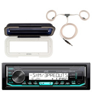 JVC KD-X35MBS Marine Single DIN AM/FM Bluetooth SiriusXM Receiver, Single DIN Radio Cover - White, Marine Antenna