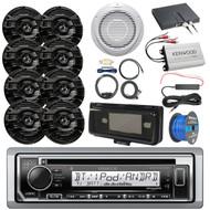 "Boat Audio Package: Kenwood KMRD372BT Marine CD Bluetooth Receiver, Radio Cover, 8x Kenwood KFC-1653MRB 6.5"" Marine Speakers, 10"" Woofer / Amplifier Combo, Amp Booster Kit, Install Kit, Speaker Wire"