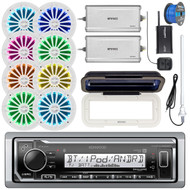 "Kenwood KMR-M322BT Marine Bluetooth Receiver, Single DIN Radio Cover, 8x Enrock 6.5"" 2 Way 200 Watt LED Speakers (White), 2x 4-Channel Amplifier, SiriusXM Tuner, Radio Antenna, Tinned Speaker Wire"