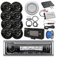 "Boat Audio Package: Kenwood KMR-M322BT Marine Bluetooth Receiver, Radio Cover, 8x Kenwood 6.5"" 2 Way Marine Speakers (Black), 10"" Inch Woofer / Amplifier Combo, 4-Ch Amplifier, Amp Kit, Speaker Wire"