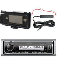 Kenwood KMR-M322BT Marine Bluetooth Receiver, Marine Radio Cover - White, Enrock 12 Volt Amp Booster Kit