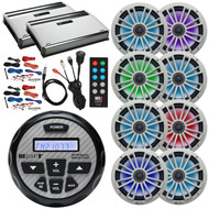 "Boat Audio Package: MB Quart GMR-2.5 Waterproof AM/FM Bluetooth Gauge Source Unit Receiver, 4x 8"" LED Marine Speakers (Pair) - Silver, 2x 4-Ch Amplifier, 2x Amp Kit, LED Remote, USB/AUX Mount, Antenna"