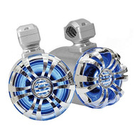 Pyle Marine Speakers - 5.25 Inch Waterproof IP44 Rated Wakeboard Tower and Weather Resistant Outdoor Audio Stereo Sound System with Built-in LED Lights - 1 Pair in Silver (PLMRWB50L)