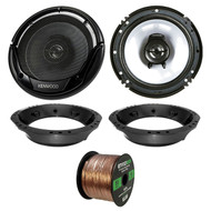 "2x Kenwood KFC-1665S 6.5"" Sport Series Speakers, Adapter, Wire ('98-2013 Harley)"