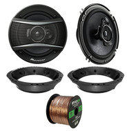"2x Pioneer TS-A1676R 6.5"" 3-Way Speakers, Adapter, 50 Ft Wire ('98-2013 Harley)"