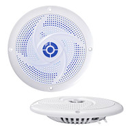 Pyle Marine Speakers - 6.5 Inch 2 Way Waterproof and Weather Resistant Outdoor Audio Stereo Sound System with LED Lights, 240 Watt Power and Low Profile Slim Style - 1 Pair - PLMRS63WL (White)