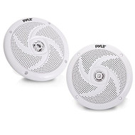 Pyle Marine Speakers - 6.5 Inch 2 Way Waterproof and Weather Resistant Outdoor Audio Stereo Sound System with 240 Watt Power and Low Profile Slim Style - 1 Pair - PLMRS6W (White)