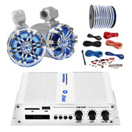 "Pyle Marine PFMRA350BW 2-Channel Bluetooth White Amplifier, Pyle 6.5"" Wakeboard Waterproof IP44 Rated Tower Silver LED Speakers (Pair), Amp Install Kit, 18-G 50 Ft Speaker Wire"