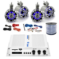 """Pyle Marine PFMRA450BW 4-Channel Bluetooth White Amplifier, 4x Pyle 5.25"""" Wakeboard Waterproof IP44 Rated Tower Silver LED Speakers, Amp Install Kit, 18-G 50 Ft Speaker Wire"""