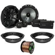 "2x Kicker CSS 6.75"" Black Component Speaker System, Speaker Adapter, 14-Gauge 50 Ft Speaker Wire (Select '98-2013 Harley Davidson)"
