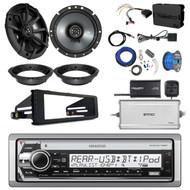 "Kenwood KMRD772BT Single DIN Marine CD Bluetooth Radio, 2x Kicker 6.75"" Speakers, Adapters, SiriusXM Tuner, Amplifier, Amp Kit, Wiring Kit, Dash Kit, Antenna, Tinned Wire (Select '98-'13 Harleys)"