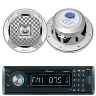 "Lanzar AQMP70BTB Single DIN In Dash Bluetooth AUX USB MMC SD MP3 Boat Receiver, 2x Lanzar AQ5CXS 5.25"" Marine Water Resistant 2 Way 400 Watt Silver Speakers"