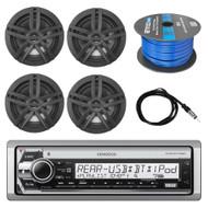 "Kenwood Marine CD Receiver, 4x Enrock 6.5"" Speakers, Antenna, 50 Ft 16-G Wire"