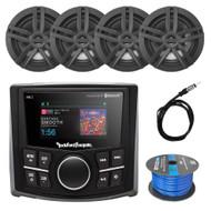 "Rockford Bluetooth Marine Radio, 4x Enrock 6.5"" Speaker 40"" Antenna, 50 Ft Wire"