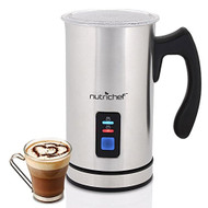 NutriChef Dual Electric Milk Frother & Warmer - Stainless Steel Steamer -PKMFR14