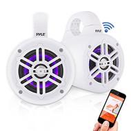 """Pyle Bluetooth White Waterproof Marine Wakeboard Tower LED 4"""" Speakers (Pair)"""