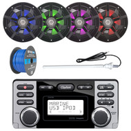 ClarionMarine 16-25' Bay Boat Audio Package: Audio CD/USB/MP3/WMA Watertight Stereo Receiver, 4 x 6.5 2-Way 200 Watts Multi Color LED Marine Speakers, Tinned Speaker Wire, AM/FM Rubber Mast Antenna