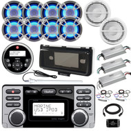ClarionMarine 36' - 42' Boat Audio Package: Receiver, Wired Remote, 8 x 6.5 200 Watt LED Speakers, 2 x 4 Ch Amplifier, 2 x 10 Subwoofer, 1 Ch Amplifier, Splitter, Amp Kit, Antenna, Extension