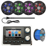 ClarionMarine 16-25' Bay Boat Audio Package: Audio Digital Media USB Hideaway Bluetooth Receiver, 4 x 6.5 2-Way 200 Watts Multi Color LED Marine Speakers, Tinned Speaker Wire, AM/FM Antenna