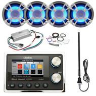 ClarionMarine 21' - 29' Pontoon Boat Audio Package: Audio Digital Media USB Hideaway Bluetooth Receiver, 4 x 6.5 Coaxial 200 Watt Blue-LED Marine Speakers, 4 Channel Amplifier, Amp Kit, Antenna