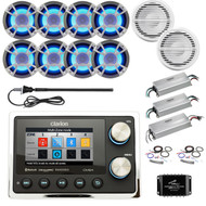 ClarionMarine 36' - 42' Boat Audio Package: Digital Media USB Hideaway Bluetooth Receiver, 8 x 6.5 LED Speakers, 4 Ch Amplifier, 2 x 10 Subwoofer, 1 Ch Amplifier, Splitter, 2x Amp Kit, Antenna