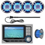 ClarionMarine 16-25' Bay Boat Audio Package: Audio Digital Media Hideaway Bluetooth Receiver, 4 x 6.5 Coaxial 200 Watt Blue-LED Marine Speakers, Tinned Speaker Wire, AM/FM Rubber Mast Antenna